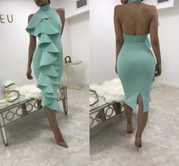 Wholesale Mint Green Short Cocktail Dresses - 2018 Black Mint Green High Neck Knee Length Cocktail Dresses Side Ruffles Short Prom Dresses Black Party Dress Backless Evening Gowns