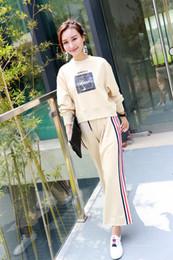 Wholesale Wholesale Pocket Jumpsuit - Hot sell Women Two Piece Outfits Pants Set fashion Rompers Jumpsuit Long Pants 2 Piece Set O-Neck Tops Autumn