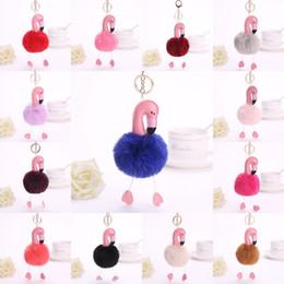 Tampa de chave metálica on-line-14 Cores 8 cm Flamingo Chaveiro Pu Couro Bonito Chaveiro Pompom Fur Key Titular Tampa Das Mulheres Saco Charme Livre DHL B236S