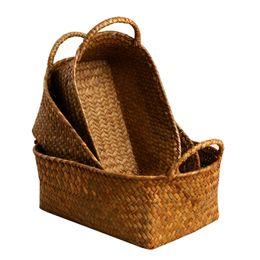 Wholesale bamboo picnic - Wholesale - Bamboo Weaving Storage Basket Fruit Rattan Storage Box For Cosmetics food picnic basket Handiwork Fashion kitchen accessories