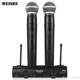 Sistema de micrófono inalámbrico Omis direccional WEISRE original de doble mano Receptor inalámbrico de 2 x para fiesta de karaoke KTV Hot + NB desde fabricantes