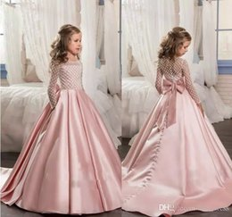 Wholesale Junior Wedding Gown Long Sleeve - 2017 Pink For Girls First Communion Dresses Long Sleeve A Line Junior Pageant Gown With Bow Flower Grils Dress Custom Made