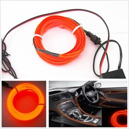 Wholesale El Light Wire Car - 2M 12V Orange EL-Wire Car Interior Unique Decor Fluorescent Strip Neon Cold light Atmosphere Free shipping