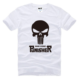 Wholesale Blue Golf Tees - personalized movie Punisher skull Printed Mens T Shirt T-shirt Fashion 2016 New O Neck Cotton Tee Camisetas Masculina golf shirts