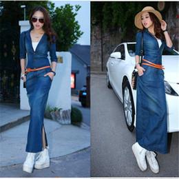 Wholesale Woman Long Skirt Plus Size - New Women Dress Washed Denim Long Skirt The Slim Was Thin Denim Casual Dresses 1 piece