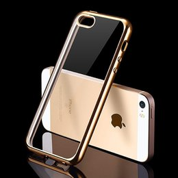 Wholesale Slim Iphone5 - Luxury Silicone Case For iPhone 5   5S   SE Transparent Cover 0.5 mm Ultra Slim Coque Fundas For i Phone iPhone5 S Gold