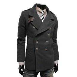 Wholesale Standing Collar Peacoat - Fall-2016 New Winter Jacket Men Casual Worsted Trench Coat Double Breasted Overcoat Stand Collar Peacoat Manteau Homme