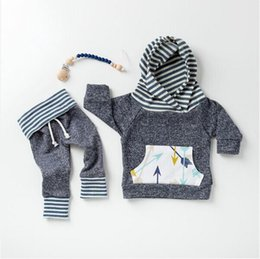 Wholesale Tops Pants Infants - Baby Autumn Winter Clothing Sets Infant Toddlers Arrow Print Hooded Jumper Top+Long Pants Two Pice Sets Boys Long Sleeve Oufits