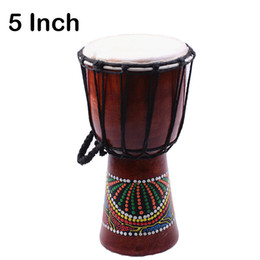 Wholesale Classic Paintings - Djembe Drummer Percussion 5 inch Classic Painting Wooden African Style Hand Drum For Sale membranophone