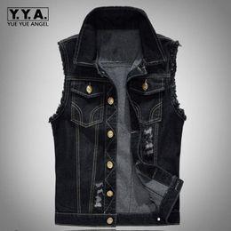 Wholesale Men Vest Motorcycle - Fashion Mens Motorcycle Jean Vest Black Ripped Destroyed Washed Slim Fit Sleeveless Denim Jacket For Men Plus Size 6XL