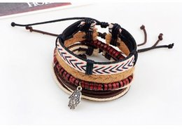 Wholesale Hand Made Bracelets For Men - 4-in-1 Fashion Leather Bracelets Retro Hand Made Multi-layer Leather Bracelet Folk-Custom Men Jewelry Bracelets For Women Pulseira Gift