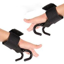 Gewichtheben handschuhe online-1 pc Weight Lifting Wrist Support Strong Training Gym Hook Grip Strap Wrist Support Glove Practical Adjustable Wrist Stripe