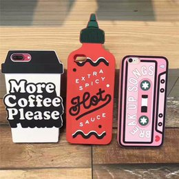 Wholesale Silicon Cup Cases - Silicone case Cassette 3D hot spicy bottle more coffe please cup silicon Cover For Apple iPhone 7 7 Plus 6 6plus cellphone