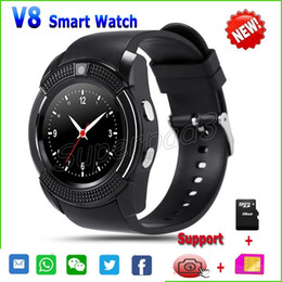 Wholesale Pet Camera Iphone - V8 Smart Watch With SIM Card TF Card 0.3MP Camera Round Sport Watch Bluetooth Smartwatch For iPhone Android Smartphone Vs DZ09 GT08