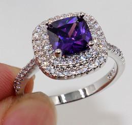 Wholesale Emerald Cut Amethyst Ring - Nice Emerald Cut 8mm Amethyst Diamonique 925 Silver Women Wedding Ring Size 5.6.7.8.9.10