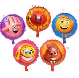 18 pollici espressione grande film emoji palla rotonda faccia pacchetto foglio di alluminio palloncino felice smileny palloncino all'ingrosso da
