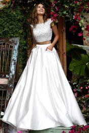 Wholesale Crystals Rhinestones Pearls - Two Pieces Wedding Dresses With A-Line Princess Scoop Neck Floor Length Satin Pearls Rhinestones Pockets Beach Wedding Dresses #DL10102