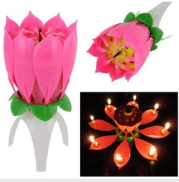 Wholesale Candle Happy - Birthday party Music Flower Candle New Lotus Music Candles Happy Birthday Music Flowers Birthday candles Flower candles