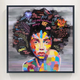Wholesale New Art Paintings - New 2 Pieces Graffiti Street Wall Art Abstract Modern African Women Portrait Canvas Oil Painting For Living Room