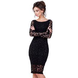 Wholesale Office Wear Lace Dresses - Women New Fashion Celebrity Style Long Sleeve Sheath Shift Party Wear to Work Office Bodycon Lace Pencil Dress