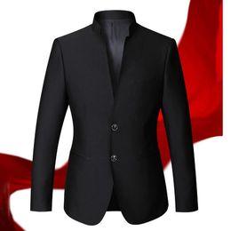 Wholesale Men S Blazer Leisure Fashion - Wholesale- men jacket leisure business chic style men blazer classical fashion high quality custom Mandarin collar long-sleeve men jacket