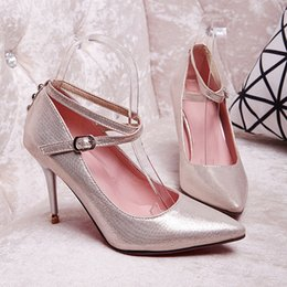 Wholesale Sex Dress High Heel - pumps women sex pointed toe ankle strap stiletto high heels sandals gold silver black shoes