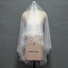Wholesale Fingertip Covers - 2016 Luxury Beading Handmade Bridal Veils Elegant Wedding Accessories Top Quality Brides Headdress Head Wear Charming Tulle Cover Face