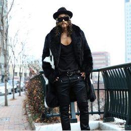 Wholesale White Faux Fur Coats - Fall-Luxury Winter Men Long Faux Fur Coats Parka 2016 WarmPlue Size XXXL 4XL White Black Thick Fox Fur Jackets Windbreaker Robe Y781