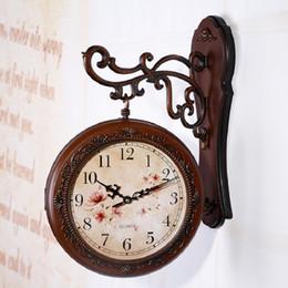 Wholesale Double Wall Clock - Wholesale- saat double sided wall clock watch relogio de parede reloj de pared large wall clock horloge murale duvar saati relogio parede
