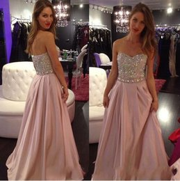 long silk empire prom dress Coupons - Sparkling Strapless Long Prom Dresses Sweetheart Sleeveless Beaded Crystals Evening Gowns Ruffled Simple Elegant Special Occasion Dresses