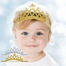 Wholesale Baby Birthday Crowns - Newborn Baby Girls birthday crown Headbands Photography Props Infant Baby Headband hair Accessories gold silver 2 colors available