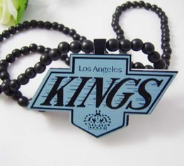 Wholesale Good Wood Team Necklace - Los Angeles KINGS Pendant Good Wood Hip-Hop Wooden NYC Fashion Casual Team Logo Necklace