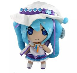 Wholesale Dolls Vocaloid Miku - Hot sale 1Pcs Free shipping Japanese Animation Hatsune Miku Vocaloid Snow Miku Magical Snow 30cm Plush Soft Doll Toy Loose