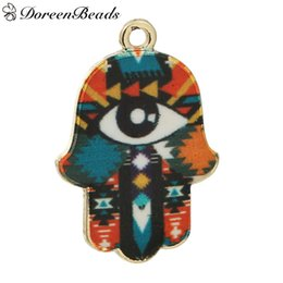 "Wholesale 18k Gold Hamsa Ship - Pendants Hamsa Symbol Hand Gold Plated Multicolor Enamel Eye Pattern 30mm(1 1 8"")x 20mm(6 8""), 10 PCs 2016 new Free shipping jewelry making"