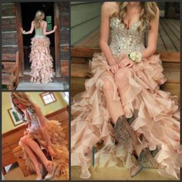 Wholesale One Shoulder Rhinestone Applique Dress - Hi-Lo pink 2016 Prom Dresses with Corset Bodice Sweetheart Dresses Sexy High Low Party Prom Dresses with Crystals Rhinestones Beading