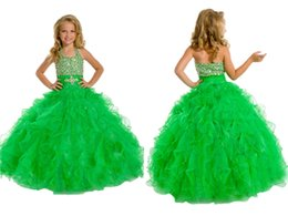 Wholesale Children Halter Long Gown - 2016 Youthful Girls Pageant Dresses Ball Gown Crystal Halter Kids Dress Long Custom Made Size Flower Girls Skirts Princess Child Party Gowns