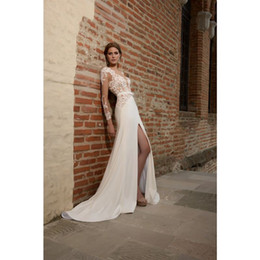 Wholesale Satin Charmeuse Wedding Dresses - BSI 18727 MengFei Long Sleeve Sheer Lace Slim Charmeuse A-line Wedding Dress With Sexy Front Slit Addicted To Love 2016 MEA2
