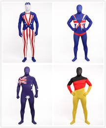 Wholesale Germany Suits - Lycra zentai suits america   UK   Australia   Germany flag costume Halloween cosplay