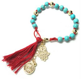 Wholesale Hand Bracelet For Women - Turquoise Beaded Bracelets Hamsa Hand Made For Women Turkey Charm Jewelry Braided High Quality New Free Shipping