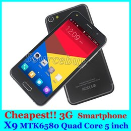 Wholesale Cheap Video Player - X9 new cell phone 5 inch quad core mtk6580 unlocked 3g dual sim mobile phones android 4GB 854*480 smartphone cheap wifi play store