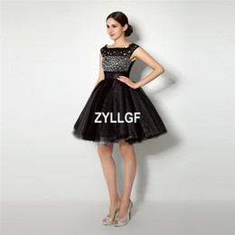 Wholesale Black Strapless Leather Dress - Hot Sales Black Crystal Zipper Back New Short Prom Dress Back Ball Gown Strapless Prom Party Gown Custom Made
