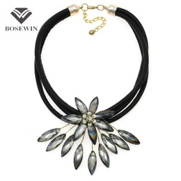 Wholesale white leather choker - fashion Latest Crystal Flower Necklace For Women Handmade Accessories Multi Black Leather Chain Choker Statement Jewelry CE4152