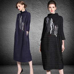 Wholesale Dress Silk Embroidery - plus size casual dresses autumn 2018 fashion sequin embroideried stand collar long sleeves long party dresses