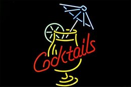 Wholesale Decorating Glass Cups - NEON SIGN Cocktail and Martini Umbrella Cup Custom Store Display Beer Bar Pub Club Lights Signs Shop Decorate Real Glass Tube Bulbs