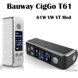 Wholesale E Lock - Authentic Bauway CigGo T61 Box Mod E Cigarette Vape Mod VW  VT BYPASS Mod With OLED Screen Lock System