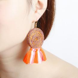 Wholesale Wholesale Ethnic Earrings For Women - Hot Selling Fashion Vintage Bohemian Handmade Cotton Tassel Charm Earrings Ethnic Fringe Drop Earrings for Women Party Jewelry