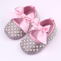 Wholesale Pink Baby Dress Shoes - 2016 New Baby Girl Dress Shoes Shinning Pearl Cloth Big Bowknot First Walker Toddler Shoes Elastic Band Anti-slip Soft Sole 0-12 Months