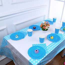 Wholesale Plastic Tablecloth Decorations - Dot Plastic Disposable Tablecloth Waterproof Rectangle Table Cover Kids Birthday Party Baby Shower wedding Decoration Supplies
