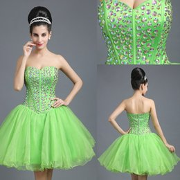 Wholesale Sparkle Prom Dress Stock - Green Short Prom Dresses with Rhinestone Organza Open Back Sweetheart Neckline A Line Zipper Sparkle Mini Homecoming Gowns In Stock SD260