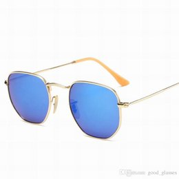 Wholesale Titanium Gold Glasses - Buy Metal Gold Sunglasses Round for Men Women Branded Sun Glasses Brand Designer Mirrored Gafas de sol Ladies with cases Online Sale